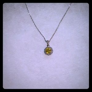 Halo canary yellow austrian crystal necklace