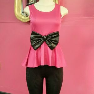 Hot pink and black top bow