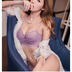 Purple lace longline bralette bra and panty set