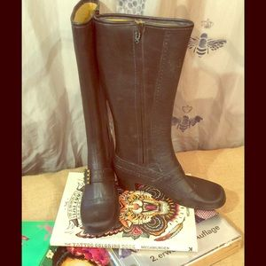 Vintage Brown Rubber Boots Furlined