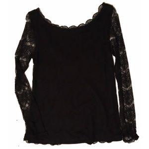Black Lace Overlay Boatneck Top