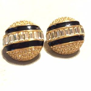 Dior vintage rhinestone and enamel earrings