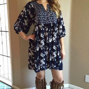 Dresses & Skirts - Navy Floral Print Peasant Dress LAST SMALL!