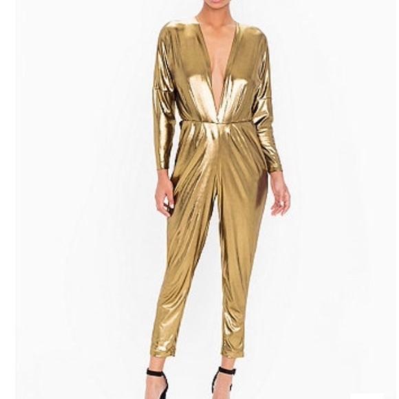 American Apparel Pants Metallic Gold Jumpsuit Poshmark