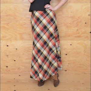 Vintage 60's Cream & Black Plaid Wool Maxi Skirt S