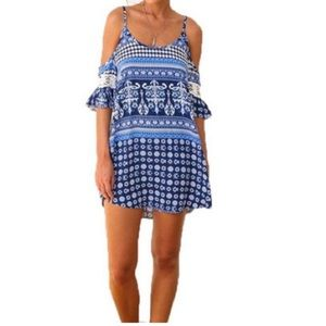 REDUCED Blue Off the Shoulder Beach Dress
