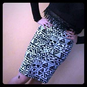 Classic Woman Dresses & Skirts - Geo Print Midi Pencil Skirt