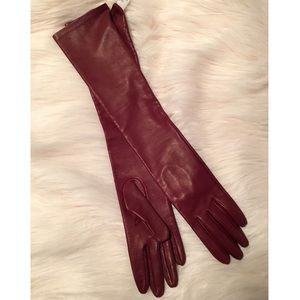 NWT Genuine Leather Wine Elbow Gloves