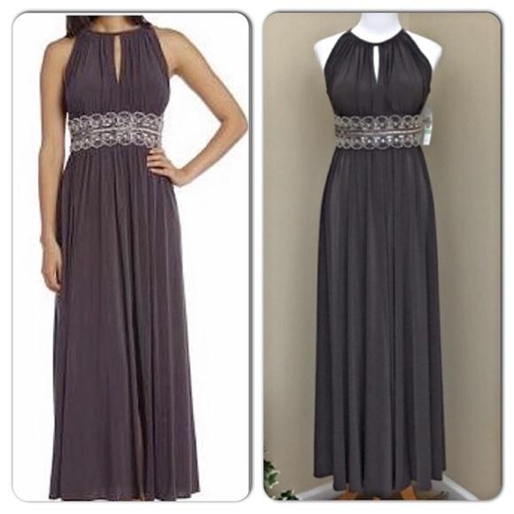 R&M Richards Dresses | Rm Richards Mocha Sleeveless Beaded Evening ...