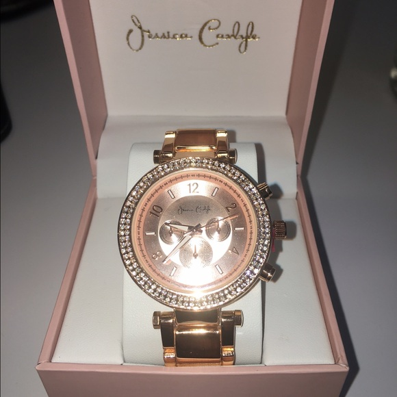 jessica carlyle accessories rose gold watch with crystal