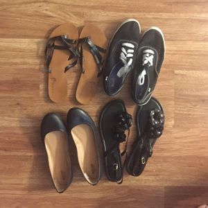 4 pairs of sandals/shoes/flats