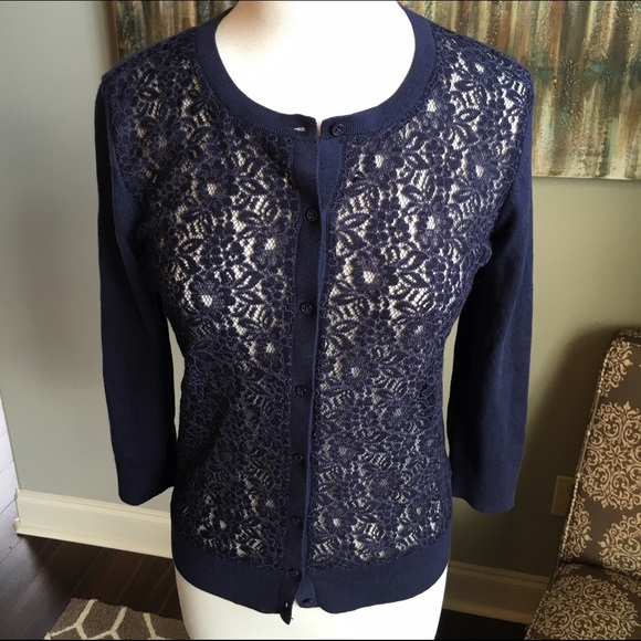 40% off LOFT Sweaters - NWT LOFT Navy Blue Lace Cardigan from ...