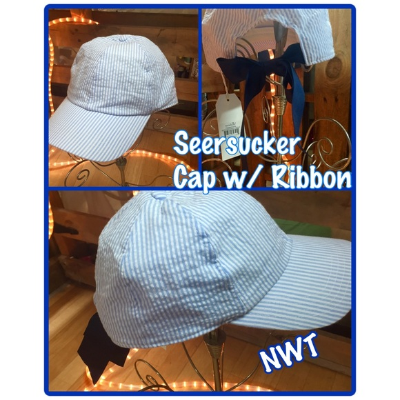 fc4ca6c2066 NWT• Seersucker Ladies Cap• Baby Blue Stripe