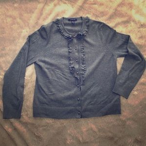 Lands' End ruffle front gray cardigan sweater