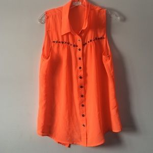 Tops - Neon Orange Star Top (Size Large)