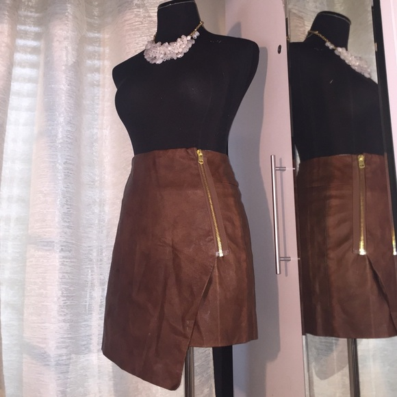 asymmetrical leather skirt dress