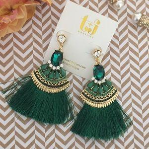 T&J Designs Jewelry - Emerald Green Tassel Earrings