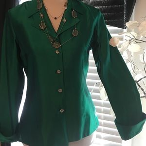 JS Collections Tops - JS COLLECTIONS Green Acetate Blouse