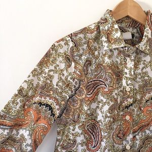J. Crew paisley button down popover shirt