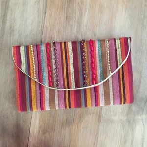 Limited Edition stripped and beaded handbag