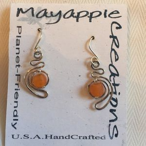 Recycled Sterling Silver and Glass Earrings