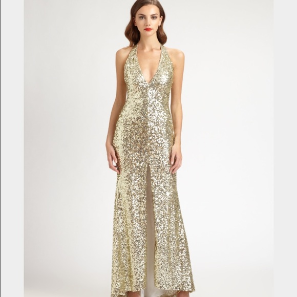 Badgley Mischka Dresses | Mark James Gold Sequin Dress | Poshmark