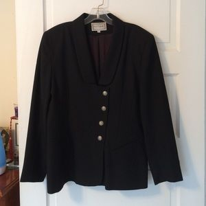 Jackets & Blazers - Black Lined Suit Jacket with Silver Buttons