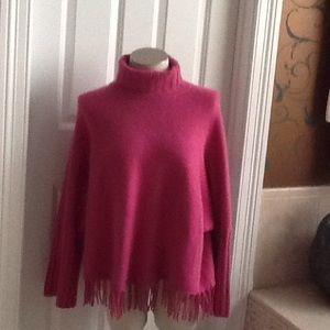 Mariele waithe Sweaters - 100% cashmere pink poncho with fringe bias.