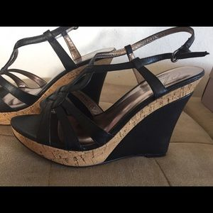 Charles David 7.5 Black Cork Wedge Sandals