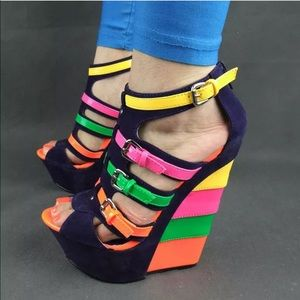 Wedge multicolor sandals size8 never worn!