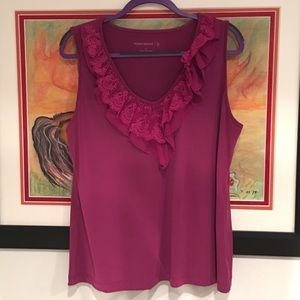 Susan Graver Large lace ruffle neck tank top NWOT