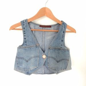 Cropped Denim Vest ♻️ Vintage Upcycled