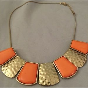 Orange coral statement necklace