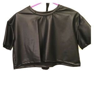 Black cropped faux leather top
