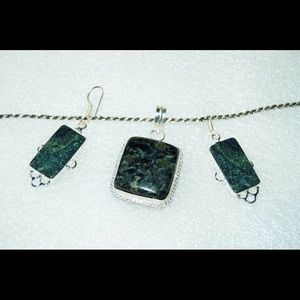 African Kambaba Jasper Pendant & Earrings Set 2""