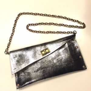 Brushed Leather Envelope Clutch