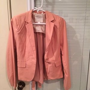 Pink blazer with satin back and bow tie