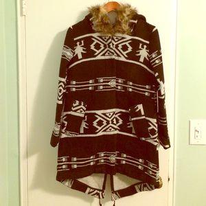 BB Dakota black & white tribal print wool coat NWT