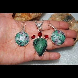 Faceted Ruby Fuschite Set:Pendant & Earrings