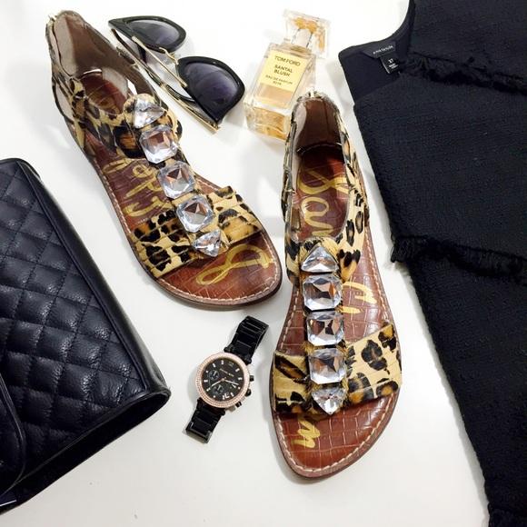 d29e54cc622f Jeweled Leopard Print Calf Hair Sandals