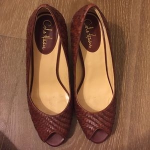 Cole Haan Nike air woven leather open toe pump