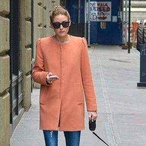 Zara Peach Coat with Gathering On The Shoulder