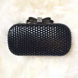 Handbags - Black Woven Structured Clutch With Embellished Bow