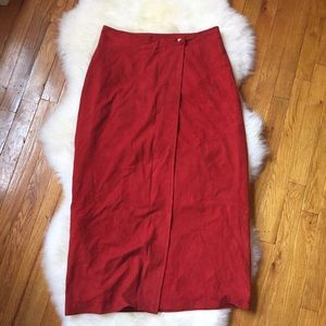 Paul Stuart Dresses & Skirts - Paul Stuart Red Suede Midi Wrap Vintage Skirt