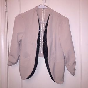 Blush pink, sequin lined blazer