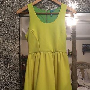 Neon Yellow Scuba Skater Dress
