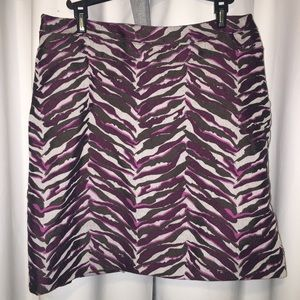 Merona lined dress skirt purple/brown zebra print