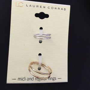 LC designer's 🎈2 PC knuckle midi rings J01A