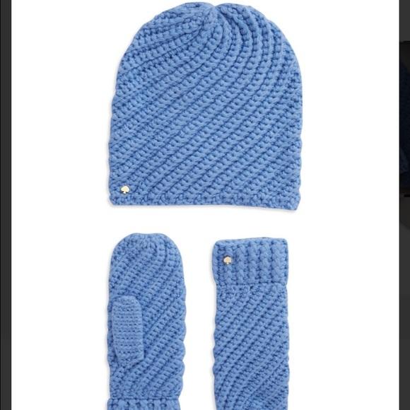 16f13c61f Kate Spade New York Solid Swirl Hat & Mittens Set NWT