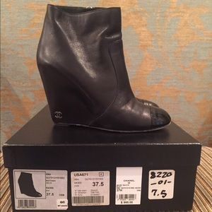 ad468a09c3d CHANEL Shoes - Chanel Black Leather Wedge Booties. size 37.5